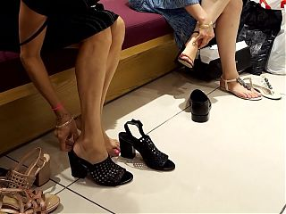 shoe shopping milf gf shows sexy feet and toes while trying high heels