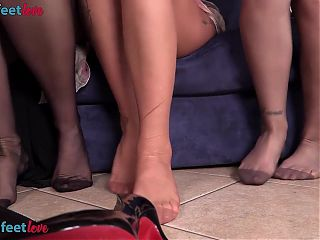Three girls in nylons have foot fetish lesbian fun