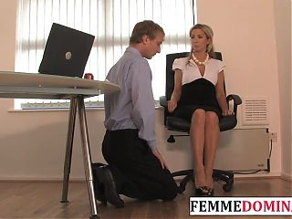Working mistress spanks BDSM sub at the office