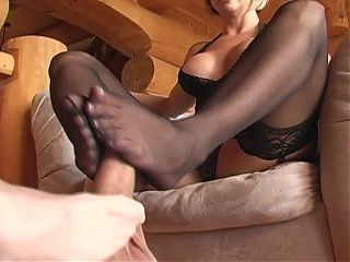 Lucky loser gets footjob from two women