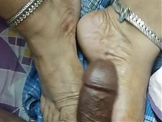 Footjob by my Desi wife