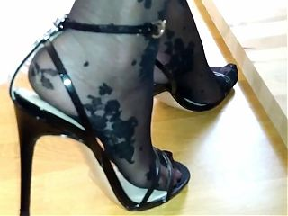 Black Pantyhose and Sandals